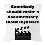 Documentary Injustice Woven Throw Pillow