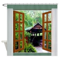 Window View of Covered Bridge Shower Curtain