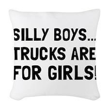 Girls Trucks Woven Throw Pillow