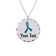 Personalized Teal Ribbon Awa Necklace Circle Charm