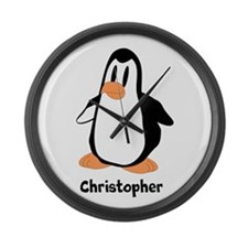 Personalized Penguin Design Large Wall Clock