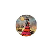 A Halloween Stroll Witch Fantasy Art Mini Button