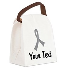 Personalized Gray Ribbon Awarenes Canvas Lunch Bag