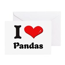 I love pandas  Greeting Cards (Pk of 10)