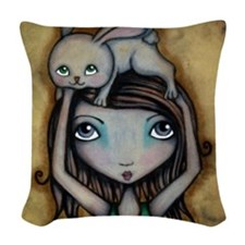 Bunny On My Head Woven Throw Pillow