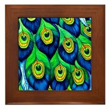Peacock11x11_pillow Framed Tile