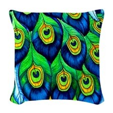 Peacock Feather Woven Throw Pillow