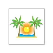 "Unique Palm tree Square Sticker 3"" x 3"""