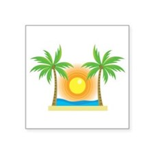 sunny palm tree design Sticker