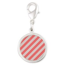 Coral Pink and Cream Stripes Charms