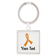 Personalized Orange Ribbon Awarene Square Keychain