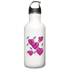 Love Hearts and Dragonflies Pink Sports Water Bott