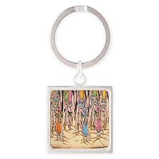 Saraswati Hindu Goddess Square Keychain