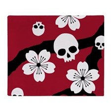 Gothic Cherry Blossoms Throw Blanket