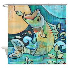 Bass Fish Jumping Hook Shower Curtain