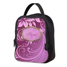 Purple Floral Swirl Personalized Neoprene Lunch Ba