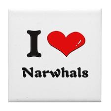 I love narwhals  Tile Coaster