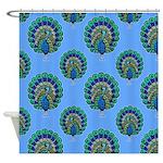Peacocks On Blue Shower Curtain