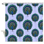 Peacock Pattern On Soft Blue Shower Curtain
