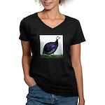 Royal Purple Guineafowl Women's V-Neck Dark T-Shir