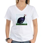 Royal Purple Guineafowl Women's V-Neck T-Shirt