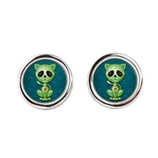 Green and Blue Zombie Sugar Skull Kitten Round Cuf