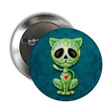 "Green and Blue Zombie Sugar Skull Kitten 2.25"" But"