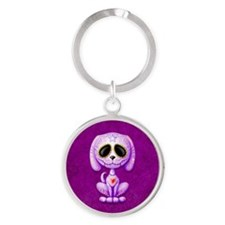 Purple Zombie Sugar Skull Puppy Keychains