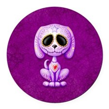 Purple Zombie Sugar Skull Puppy Round Car Magnet