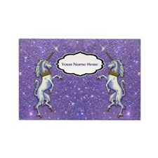 Unicorn Purple Glitter Personalize Magnets