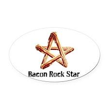Bacon Rock Star Oval Car Magnet