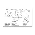 Pig Parts Rectangle Car Magnet