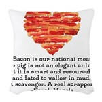 Sarah Hepola Quote about Bacon Woven Throw Pillow