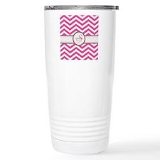 Pink Monogram Chevron S Travel Mug