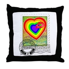 Kiss of Rainbow Love Stamp Throw Pillow