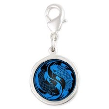 Blue and Black Yin Yang Koi Fish Charms