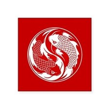 Red and White Yin Yang Koi Fish Sticker