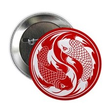 "Red and White Yin Yang Koi Fish 2.25"" Button (100"