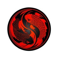 "Red and Black Yin Yang Koi Fish 3.5"" Button"