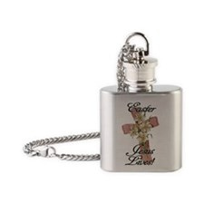 Pink Flower Cross Ribbon, Christian Flask Necklace