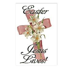 Pink Flower Cross Ribbon, Postcards (Package of 8)