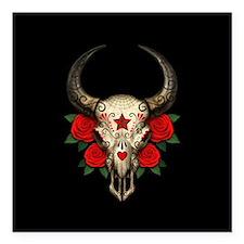 Red Day of the Dead Bull Sugar Skull Black Square