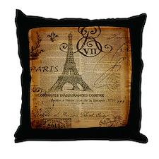 scripts elegant paris Eiffel tower Throw Pillow