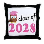 Class of 2028 (Owl) Throw Pillow