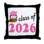 Class of 2026 (Owl) Throw Pillow