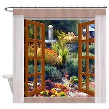 Window View Southwest Cactus Garden Shower Curtain