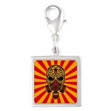Red and Yellow Post Apocalyptic Sugar Skull Charms