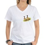 Khaki Campbell Ducks Women's V-Neck T-Shirt