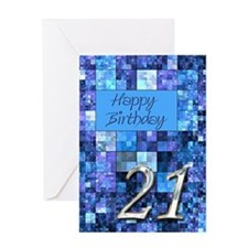 21st Birthday card Digital Art Squares Greeting Ca