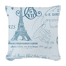 blue elegant paris Eiffel tower floral art Woven T